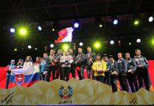 Siegerpodest im Teambewerb der Ski-WM 2017 in St. Moritz.