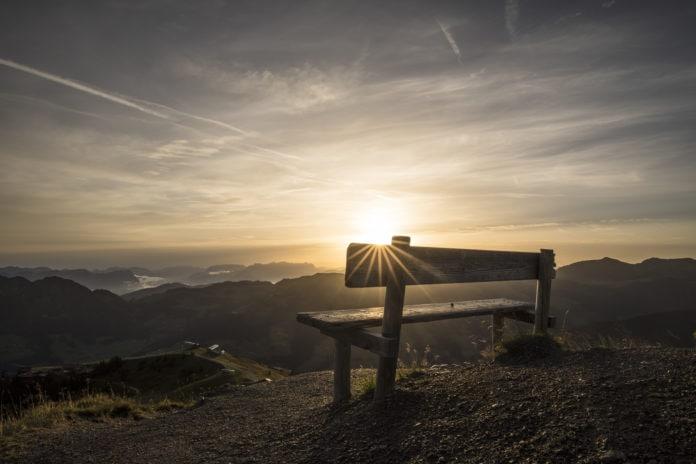 Alpbach, Wiedersbergerhorn, Gipfel, Sonnenaufgang, Bank, Mogasi