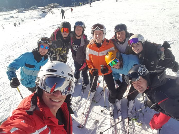 Ski technique with a ski instructor