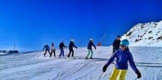 Ski-Technique in a ski lesson
