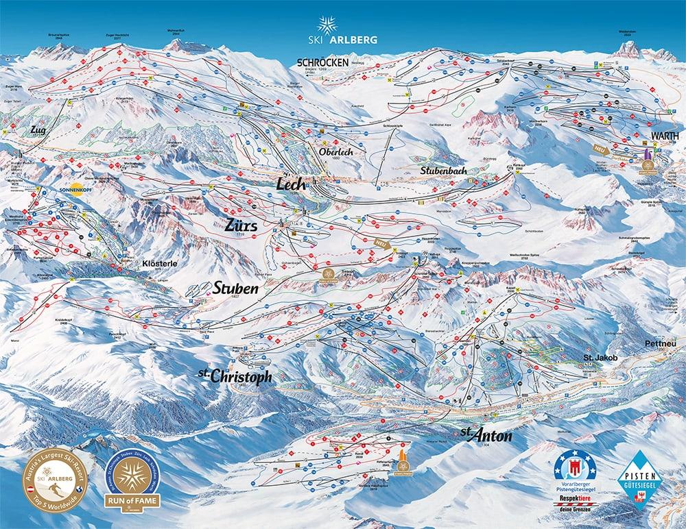 Panoramakarte Skigebiet Arlberg